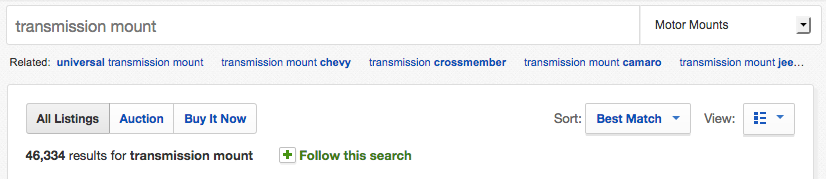 sample ebay search page